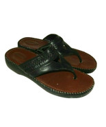 Dr Scholl's Women's 10 Leather Thong Sandals Double Air Pillo Black Slip on - $16.00