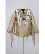 Men Native American Buckskin Beige Buffalo Leather Beaded Powwow War Shi... - $179.10
