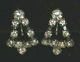 Clear Faux Diamond Rhinestone Bell Shaped Dangle Earrings Screw Backs Re... - $12.86