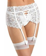 Escante White Lace Garter Belt with Boning & Stockings Size L Style 3049 - $26.68