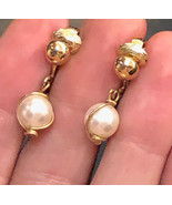 VTG 60s SARAH COVENTRY Clip Earrings Gold Tone Faux Pearl Wire Wrap Drop... - $17.10
