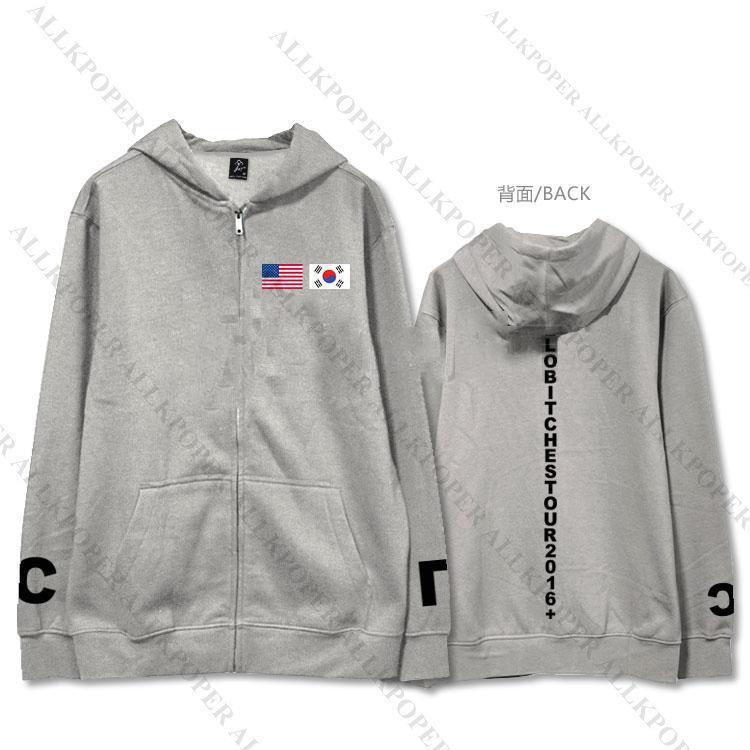 KPOP 2NE1 HELLO BITCHES Zipper Hoodie Unisex CL Sweatershirt SANDARA BOM PARK