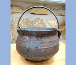 1800s antique WROUGHT IRON RIBBED FOOTED POT cauldron fireplace blacksmith  - $124.95