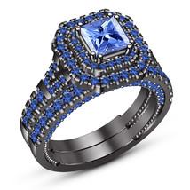 Princess Cut Blue Sapphire Engagement Ring Set 14k Black Gold Finish 925 Silver - $94.99