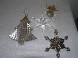 Lot of 4 Large Hammered Silvertone Christmas Tree Angel Stamped Snowflak... - $9.49
