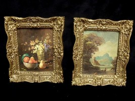 "PAIR OF ORNATE SMALL  4.5"" BY 5.5"" BURWOOD FRAMES WITH STILL LIFE PRINTS - $29.70"