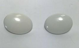 Vintage Retro Crown Trifari White Enamel Metal Oval Clip On Earrings Rockabilly - $7.91