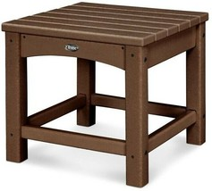 Outdoor Side Table 18 in. UV Protected Fade-Weather Resistant Plastic Brown - $208.95