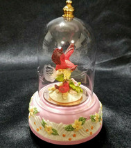 VINTAGE DOMED MUSIC BOX- MOTHER AND BABY CARDINALS - $25.20