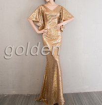 Sexy Golden Bat Sleeve Maxi Long Sequin Dresses Fitted Sequined Cocktail Dress image 10