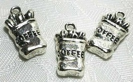 BAG OF COFFEE BEANS FINE PEWTER PENDANT CHARM  - 11mm L x 21mm W x 5mm D image 2