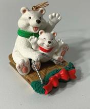Polar Bears Sledding Christmas Tree Ornament 1996 Westmar Vintage - $8.95