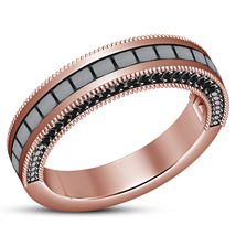Ladies Wedding Band Ring 14k Rose Gold Plated 925 Silver Princess Cut Black CZ - $78.88