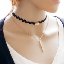 Gp Stick & Wavy Choker Double Necklace >> Combin Shipping << (71 - $4.90