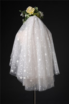 Shoulder Length Wedding Bridal Veils Layer Flower Lace Tulle White Bridal Veils  image 12