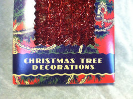 Red Tinsel Garland for Christmas Tree Decoration - 9ft - in vintage look box image 4