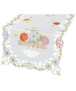 Easter Table Runner Spring Table Cloth Topper Eggs Embroidered White Tab... - $28.59