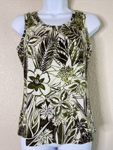 Charter Club Womens Size P/P Green Floral Pattern Blouse Sleeveless - $10.93