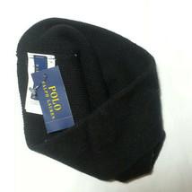 POLO Ralph Lauren Men Beanie Hat Wool Black with Blue Logo NWT - $38.75