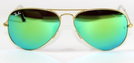 New Genuine Ray Ban 3025 112/19 Gold Mirror Green Lens Aviator Sunglasse... - $79.25