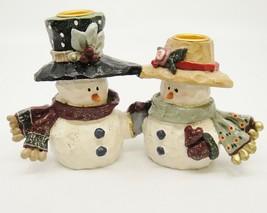 Vintage Kurt Adler Mr & Mrs Snowman Candle Holder Christmas Hats Scarves... - $24.74