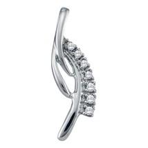 14kt White Gold Womens Round Diamond Cascading Fashion Pendant 1-20 Cttw - $124.27