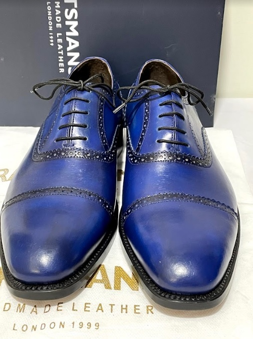 Handmade Men's Blue Leather Lace Up Dress/Formal Oxford Shoes