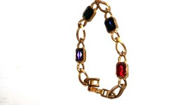 Lovely Vintage Bracelet Red Green Blue Purple Large Rhinestones Copper B... - $10.79