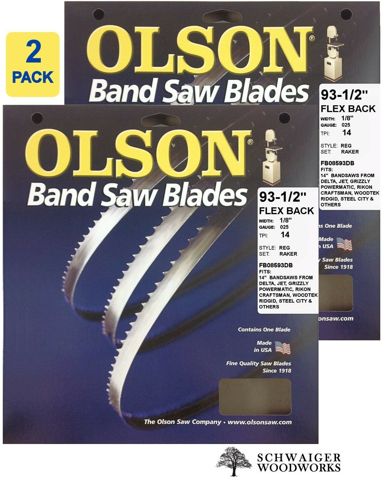 "Primary image for Olson Flex Back Band Saw Blades 93-1/2"" inch x 1/8"" 14T, 14"" Delta, JET, Grizzly"
