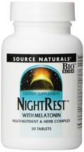 Source Naturals NightRest with Melatonin 50 Tablets (Pack of 2) - $16.98