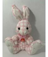 Goffa pink polka dot Peter Cottontail singing plush bunny rabbit ribbon bow - $8.90
