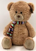 The Petting Zoo Stuffed Plush Winter Brown Teddy Bear 16 Inch Scarf  *New* - $33.24