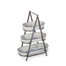 3-Tiered Metal Folding Stand and Decorative Serving Dishes Stamped w/ Bl... - £46.52 GBP