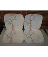 "Set 4 Corelle Square Cherry Blossom Dinner Plates 10"" - £22.03 GBP"