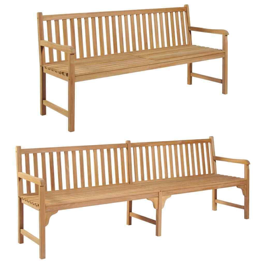 vidaXL Solid Teak Outdoor Bench w/ Finish 3-seater Garden Chair Patio 2 Sizes