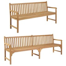 vidaXL Solid Teak Outdoor Bench w/ Finish 3-seater Garden Chair Patio 2 ... - $204.99