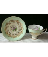 Vintage ROYAL STANDARD China TEA CUP & SAUCER Green Band Gold & Floral 2... - $16.48