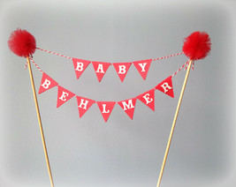 Personalized cake bunting topper with tulle pom poms. Red, white.  Littl... - $24.49