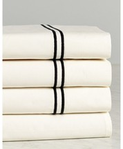 Sferra Grande Hotel Ivory Queen Flat Sheet Black Stripe Cotton Percale I... - $123.75