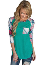 Vibrant Plaid Raglan Sleeve Green Top  - $18.86