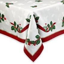 White Holiday Ribbon Damask Tablecloth Christmas 70 RD 60x84 You Choose - $40.39