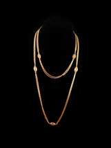 "50"" Monet  necklace - Monet double gold chain - vintage designer jewelry  - $95.00"