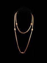 "50"" Monet  necklace - Monet double gold chain - vintage designer jewelry  - $95.00"