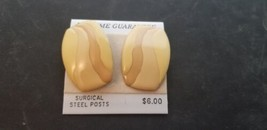 Vintage NOS 1980s Oval Shaped Pierced Earrings W/ Shades Of Tan & Brown ... - $14.47