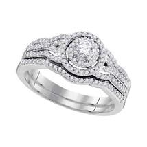 10k White Gold Round Diamond Bridal Wedding Engagement Ring Band Set 1/2 Cttw - $760.00