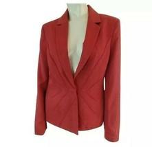 Anne Klein Blazer 10 Rust Rayon Snap Front Lined Gorgeous Seam Designs - $48.51