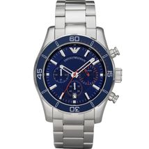 Emporio Armani AR5933 Sports Luxe Stainless Steel Blue Dial Chronograph Watch - $204.99
