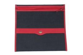 Authentic GUCCI Vintage Blue Red Canvas ZIP POUCH Purse DOCUMENT HOLDER - $74.25