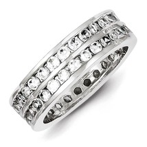 925 Sterling Silver Polished 2 Row Round Cut Channel CZ Eternity Ring Si... - $38.64