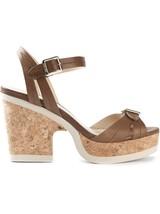 "Jimmy Choo 'nemesis"" Ankle Strap Wedges Cork Sandal Shoes Slingback 35.5... - $290.00"